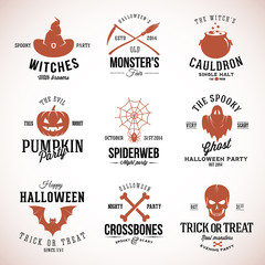 Vintage Typography Halloween Vector Badges or Logos Pumpkin