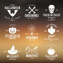Vintage Typography Halloween Vector Badges or Logos Pumpkin