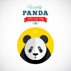 Weekly Panda Cute Flat Animal Icon Kiss