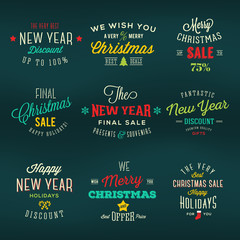 Christmas and New Year Vintage Labels Holiday Sales Discounts