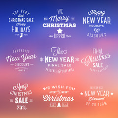 Christmas and New Year Vintage Sales Typography Labels on