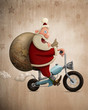 Santa Claus motorcycle delivery