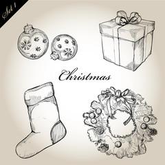 Christmas hand drawn Decorations for Xmas design. set1