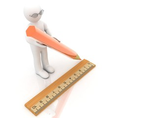 3d people   concept  ruler and pencil