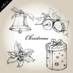 Christmas hand drawn Decorations for Xmas design. set2