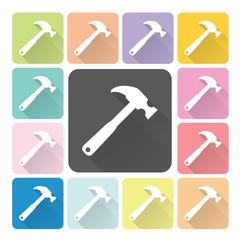 Hammer Icon color set vector illustration