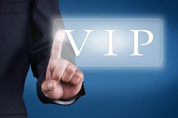 Businessman drückt Knopf - VIP