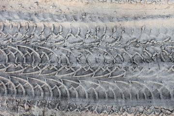Wheel tracks on the ground