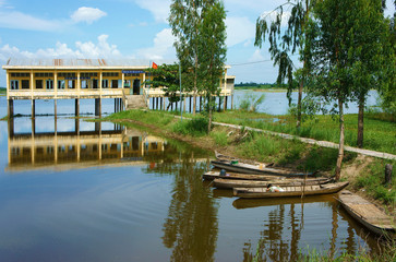 Vietnamese shool in flooded season