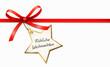Rote Schleife, Stern-Etikett - Fröhliche Weihnachten