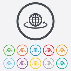 Globe sign icon. Round the world arrow symbol.