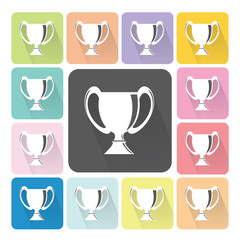 Trophy cup Icon color set vector illustration