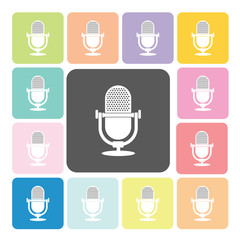 Microphone Icon color set vector illustration