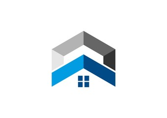 house triangle 3d icon logo construction abstract vector