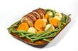 Left side View of Roast Pork and Vegetables