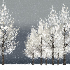 冬 雪 バックグラウンド Winter night background with snowy trees