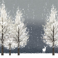冬 雪 バックグラウンド Winter background with white trees and reindeer