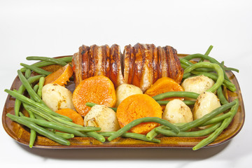Roasted Rolled Pork and Vegetables on White