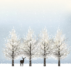 冬 雪 バックグラウンド Holiday background with snowy trees and reindeer