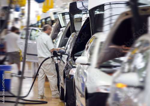 canvas print picture work at big car factory industry