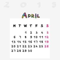 calendar 2015 april