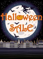 Happy Halloween sale greeting background