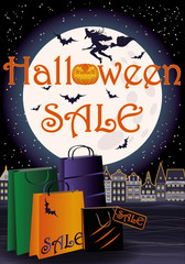 Happy Halloween sale greeting shopping card