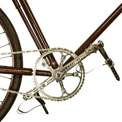 Detail of an old bicycle isolated on white