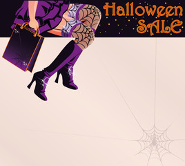 Halloween sale shopping greeting postcard, vector