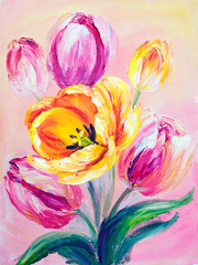 Pink tulips, oil painting on canvas