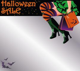 Halloween sale shopping invitation postcard, vector