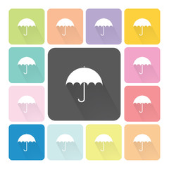 Umbrella Icon color set vector illustration