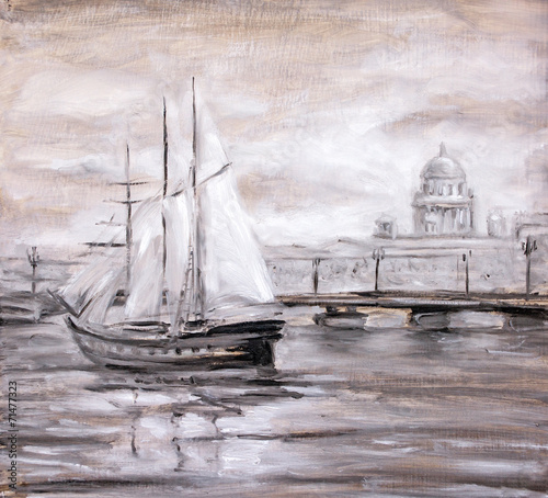 Sailing boat near city. Oil painting. - 71477323