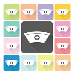 Nurse hat Icon color set vector illustration