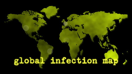 Yellow Global Infection Map Epidemic