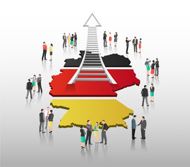 Business people vector with german flag and country outline
