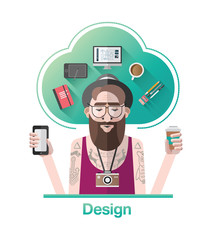 Hipster graphic designer vector with text