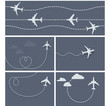 Plane flight - dotted trace of the airplane, heart-shaped and lo - 71478741