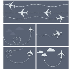 Plane flight - dotted trace of the airplane, heart-shaped and lo