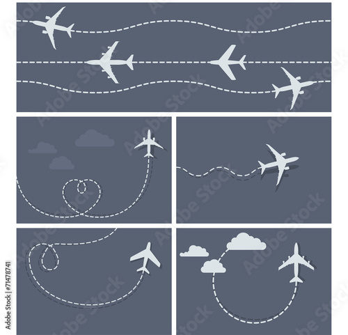 Fototapeta Plane flight - dotted trace of the airplane, heart-shaped and lo