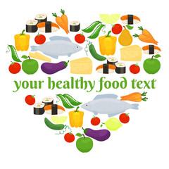 Various foods in heart shape arrangement