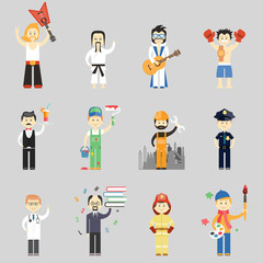 Set of vector characters in different professions