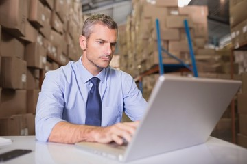 Warehouse manager using laptop