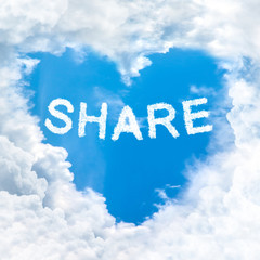 share word on blue sky