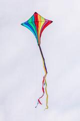 Rainbow Kite flying against a cloudy sky.