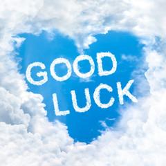 good luck word on blue sky