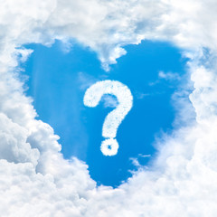 question mark sign on blue sky