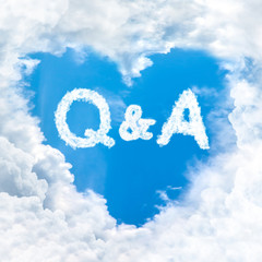 question answer word on blue sky