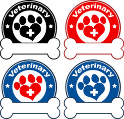 Veterinary Circle Labels Design With Love Paw Print. Collection