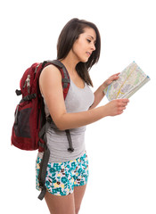 Young cute tourist with map and backpack